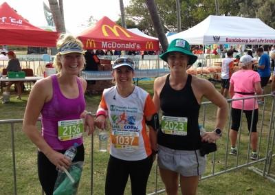 Cane 2 Coral fun run, Bundaberg 2014. Amanda, Carla and Bec at the finish of the 15km event.