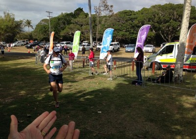 Cane 2 Coral fun run, Bundaberg 2014. Clint finishes the 8km event.