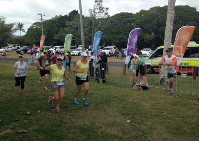Cane 2 Coral fun run, Bundaberg 2014. Leonie and Tracy complete the 8km event.