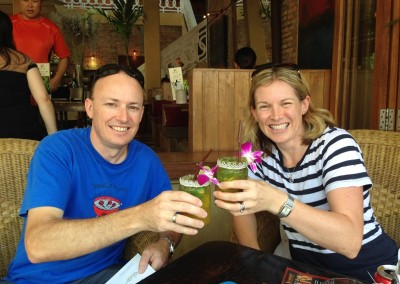 Sean and Fiona enjoy a mojito in Pub Street, Siem Reap.