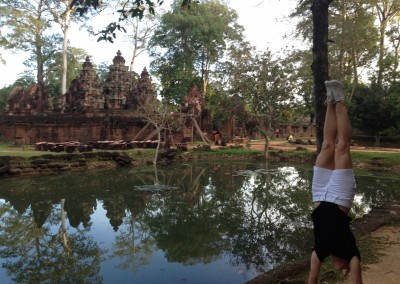 Striking a pose at Banteay Srei.