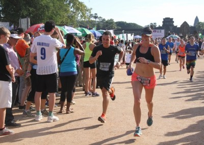 Bec finishes the Angkor Wat Half Marathon.