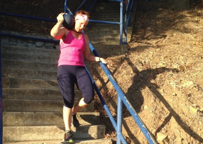 Karla completes her weighted stair carry.