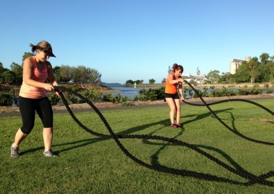 Sprints for your arms! Kylee and Cherie get stuck into some battle rope waves.